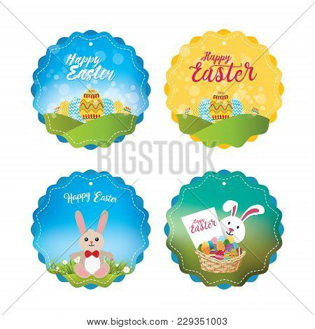 Four Adorable Easter Labels Of Unique Bunny And Egg Basket Illustrations In A Gradient And Bookeh St