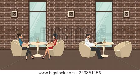 People In The Restaurant. Two Young Women Are Sitting At The Table, At Another Table - One Man. Inte