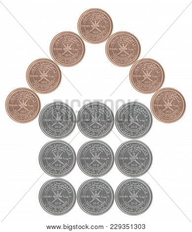 House Built From Sultanate Of The Omani Coins Isolated On White Background