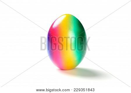 One Colorful Easter Eggs On White Background - Isolated.