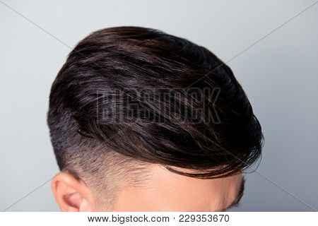 Close Up Above Top View Photo Of Trendy Stylish Fashionable Healthy Smooth Shiny Straight Man's Hair