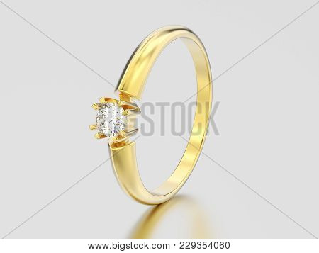3d Illustration Yellow Gold Engagement Solitaire Double Prong Basket Diamond Ring On A Gray Backgrou