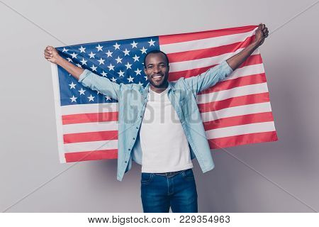 It's My Native Country! Portrait Of Cheerful Glad Excited Confident With Toothy Beaming Smile Studen