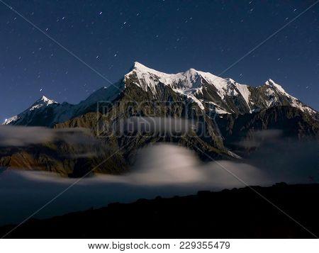 Starry Sky Over The Himalaya, Mount Nilgiri - Starry Night On Annapurna Circuit Trek In Nepal