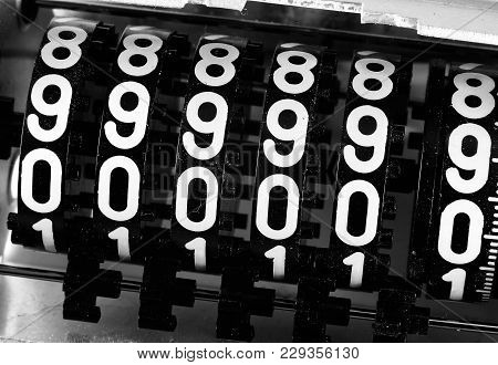Numbers Of An Analog Meter With The Text 999999