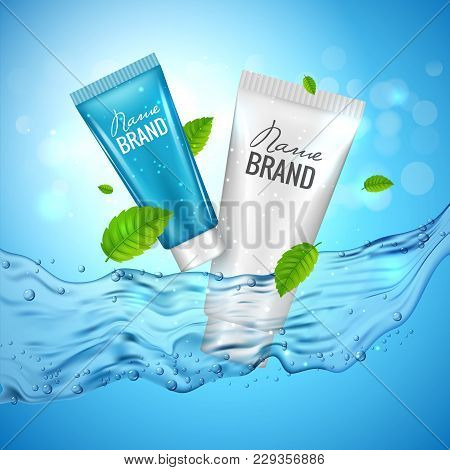 Cosmetics Product Advertising Illustration Poster. Vector Cosmetic Skincare Bottle Design With Water