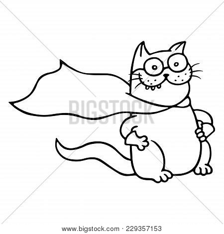 Super Cat Is Ready For A Feat. Funny Cartoon Cool Character. Isolated Vector Illustration. White Col