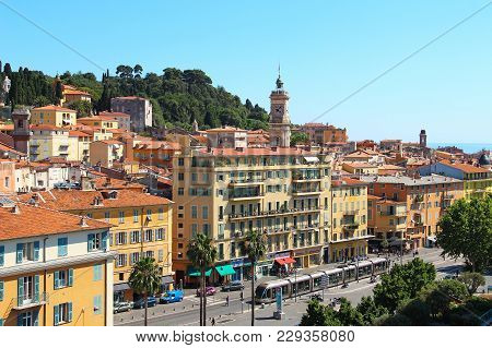 Nice, France - June 23, 2016: Paillon Promenade And Castle Hill In The Old Town Of Nice