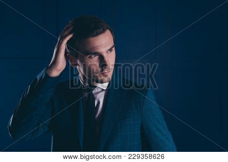 Close Up Portrait Of Cool, Stunning, Ideal, Intelligent Expert In Formalwear With Tie Holding Hand O