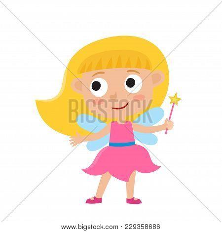 Vector Set Of Cute Cartoon Kid In Colorful Halloween Costume: Fairy. Cartoon Character Design Of Gir