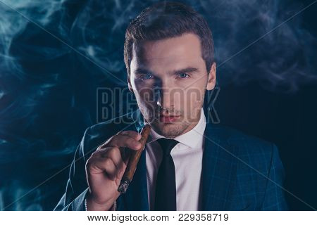 Portrait Of Attractive, Stunning, Brutal, Stylish, Elegant Man In Smoke,  Holding Cigar In Hand Look