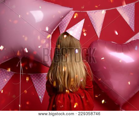 Three Years Girl Toddler Kid Turned Away With Pink Balloons And Flags Birthday Cap Celebrating Prote