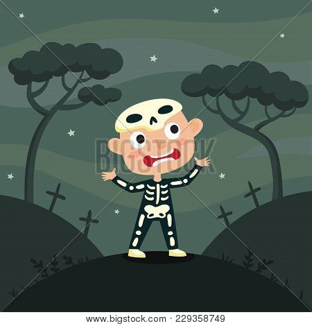 Vector Cute Cartoon Kid In Colorful Halloween Costume: Skeleton. Halloween Poster With Night Landsca