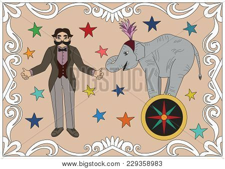 Vintage Circus Illustrations Collection. Flash Tattoo. Circus Perfomer. Entertainer Elephant
