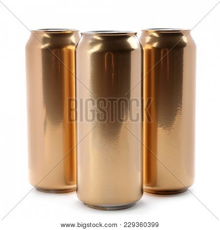 Cans of beer on white background