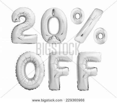 Twenty Percent Off Discount. Silver Chrome Balloons Isolated On White Background