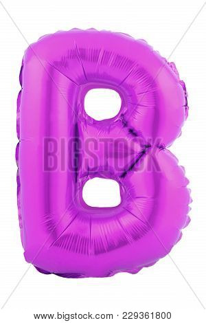 Ultra Violet Color Letter B Made Of Inflatable Balloon Isolated On White Background