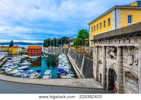 Scenic View At Colorful Bay In City Center Of Town Zadar, Croatia Europe.