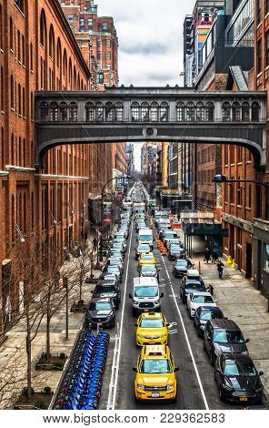 New York City, USA, Jan 2018, the West 15th street skybridge between two buildings above one of Manhattan street