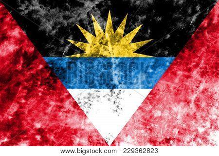 Old Antigua And Barbuda Grunge Background Flag