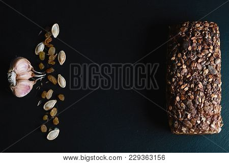 Dark Rye, Cereal Bread With Sunflower Seeds, Whole Bread, Wheat Stems, Pumpkin Seeds, Nuts, Garlic O
