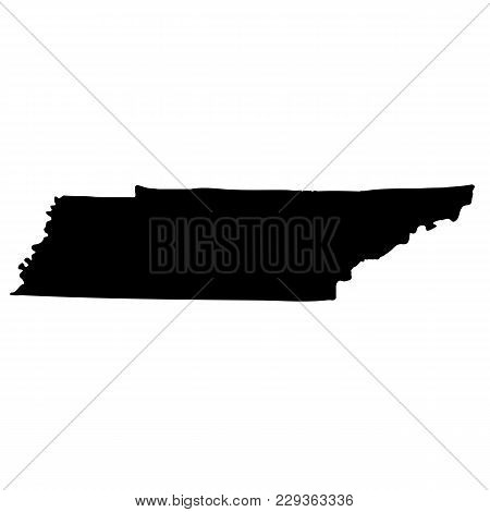 Map Of The U.s. State Of Tennessee On A White Background
