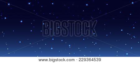 Night Stars Sky Background Illustration. Galaxy Dark Night Starry Sky Wallpaper.