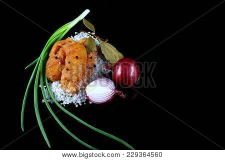 Delicious Caviar, Roe Closeup, Pike Caviar Flat Lay On Sea White Salt, Green Onions, Red Hot Pepper,