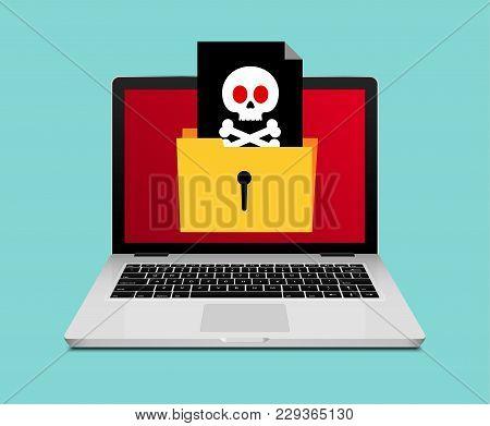 Computer Laptop Virus Fraud Folder Or Spam Notification. Internet Online Virus Alert Icon.