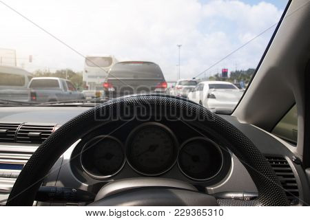 Car Break Stop On The Road By Traffic Congestion Or Jam And Go To Trip To Travel Or Business Trip. V