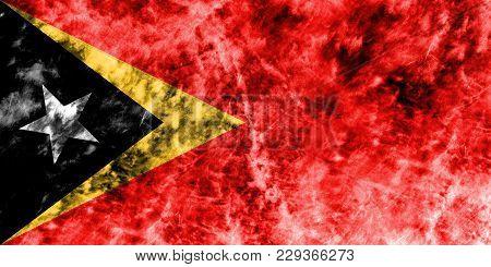 Old East Timor Grunge Background Flag, Vintage Look