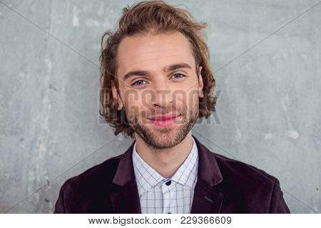Portrait Of Bearded Male Expressing Happiness While Looking At Camera. Cheerfulness Concept