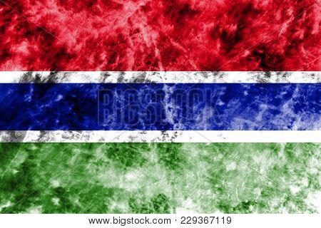 Old Gambia Grunge Background Flag, Vintage Look