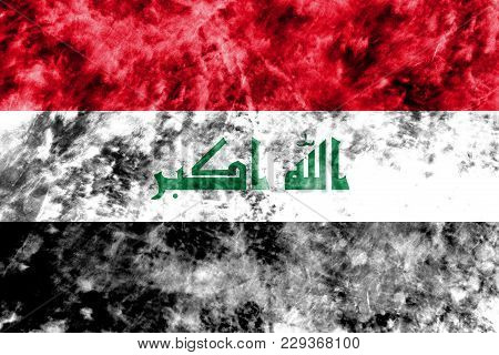 Old Iraq Grunge Background Flag, Vintage Look