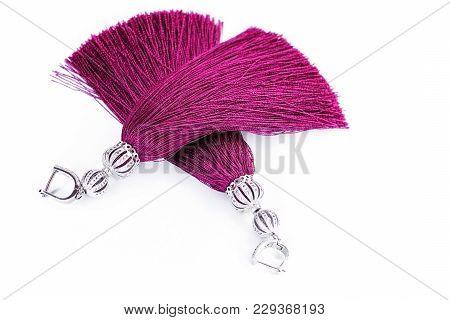 Marsal Earrings-brushes Handmade On A White Background.