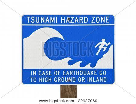 Tsunami warning zone sign isolated on white.