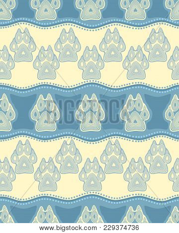Seamless Pattern With Paw And Claws Made In A Decorative Manner And Boho Style Of Light Blue Colors