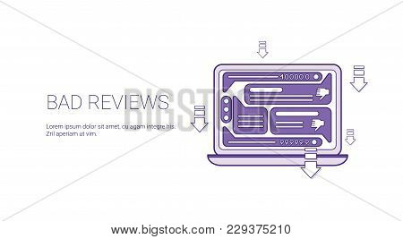 Bad Reviews Negative Feedback Template Web Banner With Copy Space Vector Illustration