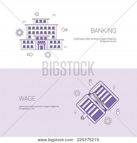 Banking And Wage Finance Business Concept Template Web Banner With Copy Space Vector Illustration
