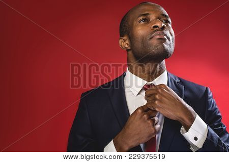 Serious Business Attitude. Elegant Sucessful Young Man Is Standing And Adjusting His Tie. Copy Space