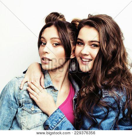 Two Best Friends Teenage Girls Together Having Fun, Posing Emotional On White Background, Besties Ha
