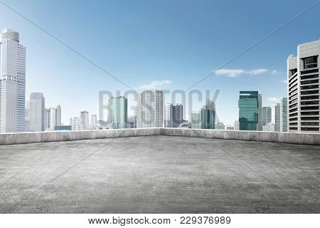 The Roof Of Building With Skyscrapers View