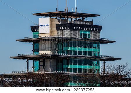 Indianapolis - Circa March 2018: The Panasonic Pagoda At Indianapolis Motor Speedway. Ims Prepares F