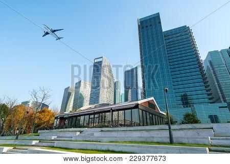 Modern Skyscrapers Of The Metropolis, Shanghai, China.