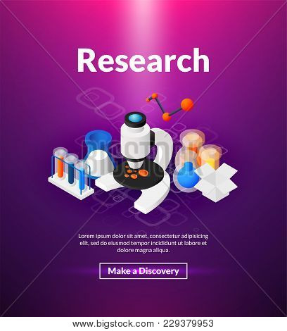 Research Poster Of Isometric Color Design, Nano Science Concept Vector Illustration For Web Banners