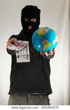 Black Dressed Young Man Holding A Globe Earth
