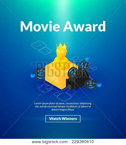 Movie Award Poster Of Isometric Color Design, Academy Awards Concept Vector Illustration For Web Ban