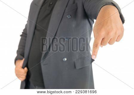 Businessman Point Finger Down On White Background