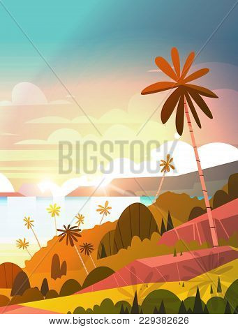 Amazing Sunset On Seaside, Tropical Landscape Summer Beach With Palm Tree Exotic Resort Poster Flat