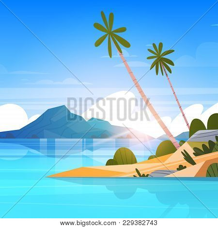 Seaside Landscape Summer Tropical Beach With Palm Tree Exotic Resort Poster Flat Vector Illustration